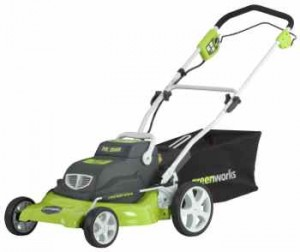 Cordless electric lawn mower; Greenworks model