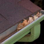 Gutter blocked by dry leaves
